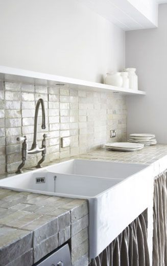 Modern and vintage mix kitchen... tile with fabric... Justine Hugh Jones