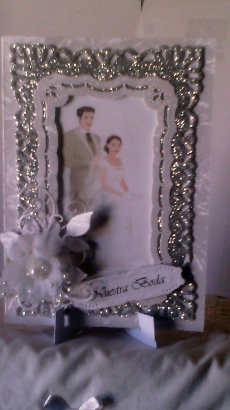 tarjeta de boda blanco con plata