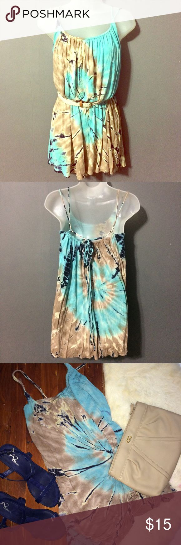 Tie dye mini dress Size small tie dye mini dress with spaghetti straps and ties in the back. Tan and baby blue in color. Great movement this dress is perfect for days at the beach, backyard bbqs, or pool nights. No trades ️️ or Ⓜ️ercari. Ask me about bundles  offers always considered when submitted via the offer button  Dresses Mini