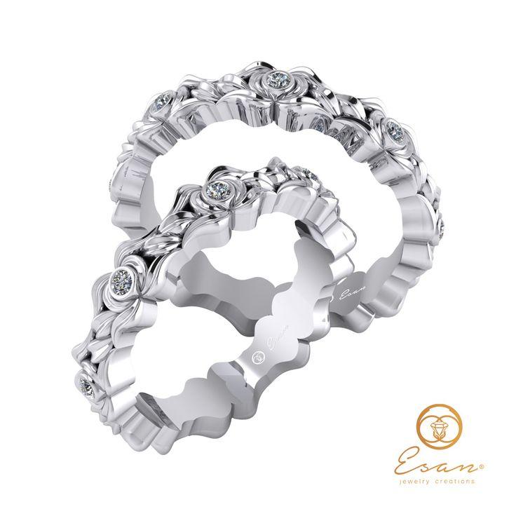Verighete din aur alb cu diamante cu design floral ESV18