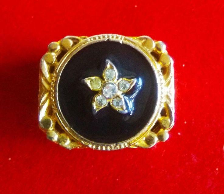 VTG SIGNED FLORENZA GOLD PLATE BLACK ENAMEL RHINESTONES TRINKET RING PILL BOX #FLORENZA