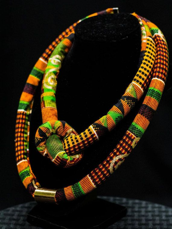 Kente Necklace. Traditional African Ankara Print Neckpiece, Afrocentric Jewelry Gift for Sister, Mother's Birthday, Wife Anniversary Present | Pinterest | Kent…