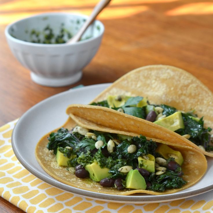 Easy Dinner Recipe:  Kale and Black Bean Tacos with Chimichurri   Recipes from The Kitchn