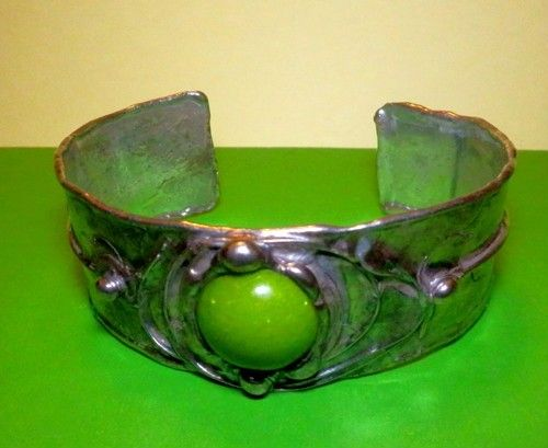 http://megasilver.pl/Bransoleta-p365 #Bracelet #metalwork #handmade #green #howlite #stone #jewelry #jewellery