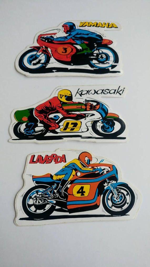 Vintage Motorcycle Stickers Yamaha Kawasaki Laverda Leather