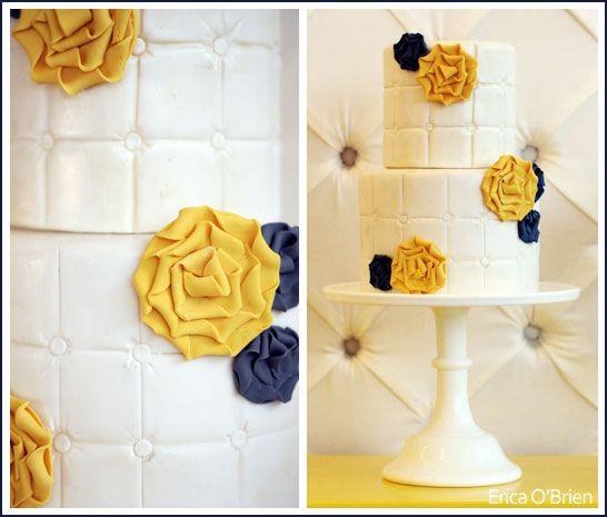 Yellow & Purple Fabric Flower Pillow-Inspired Wedding Cake by Erica O'Brien