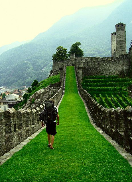 """Bellinzona, Switzerland.  Exploring one of the three castles in the Italian-speaking Swiss mountain town."""