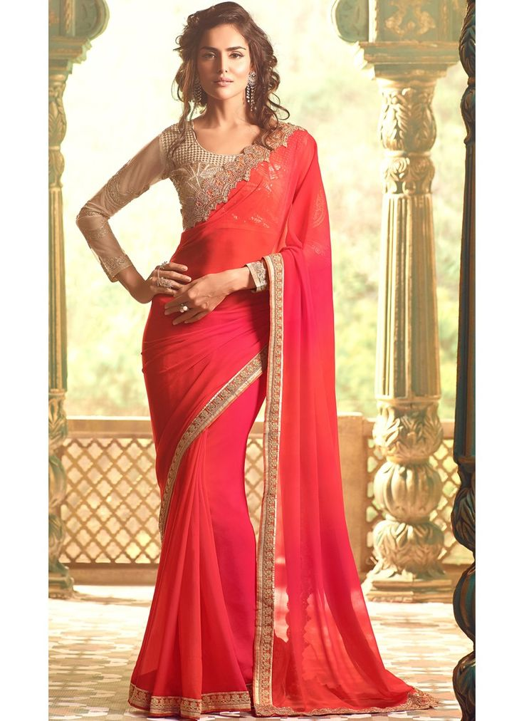 $115 Pink and Orange Ombre Georgette Saree