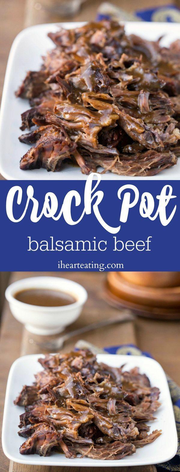 Crock Pot Balsamic Beef Recipe - easy slow cooker roast dinner recipe! So tasty!