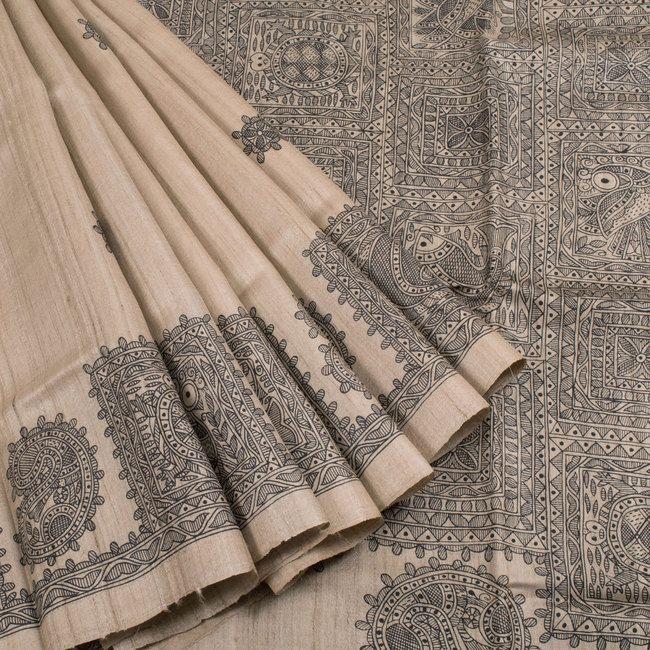 Ghanshyam Sarode Madhubani Printed Tussar Silk Saree 10005504 - profile - AVISHYA.COM