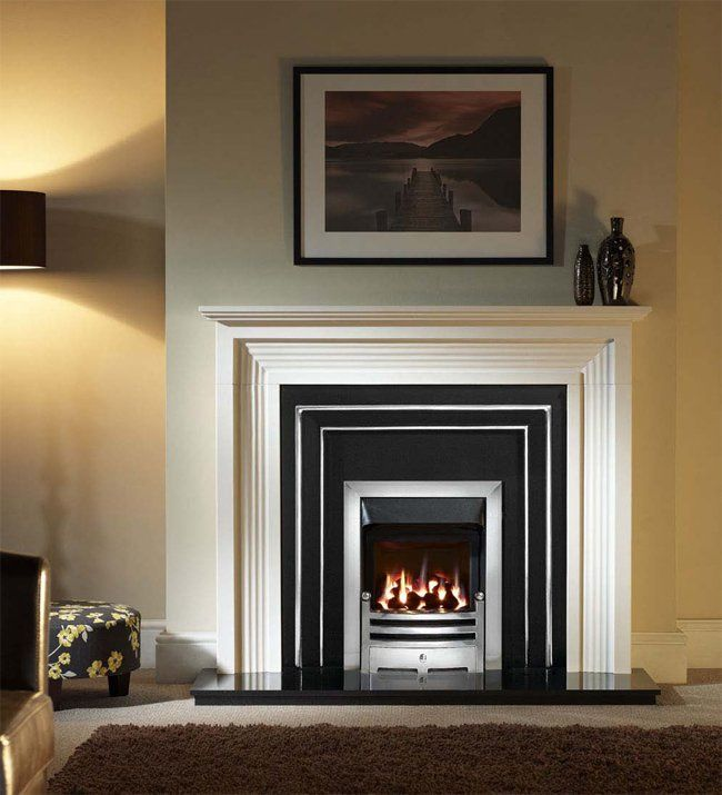 Evesham Agean Limestone Gas Fireplace Package With Hamilton Fascia £1385 complete