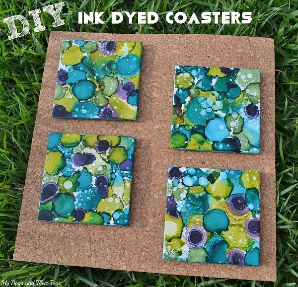 Diy alcohol ink dyed coasters fun diy coasters and for Homemade coaster ideas