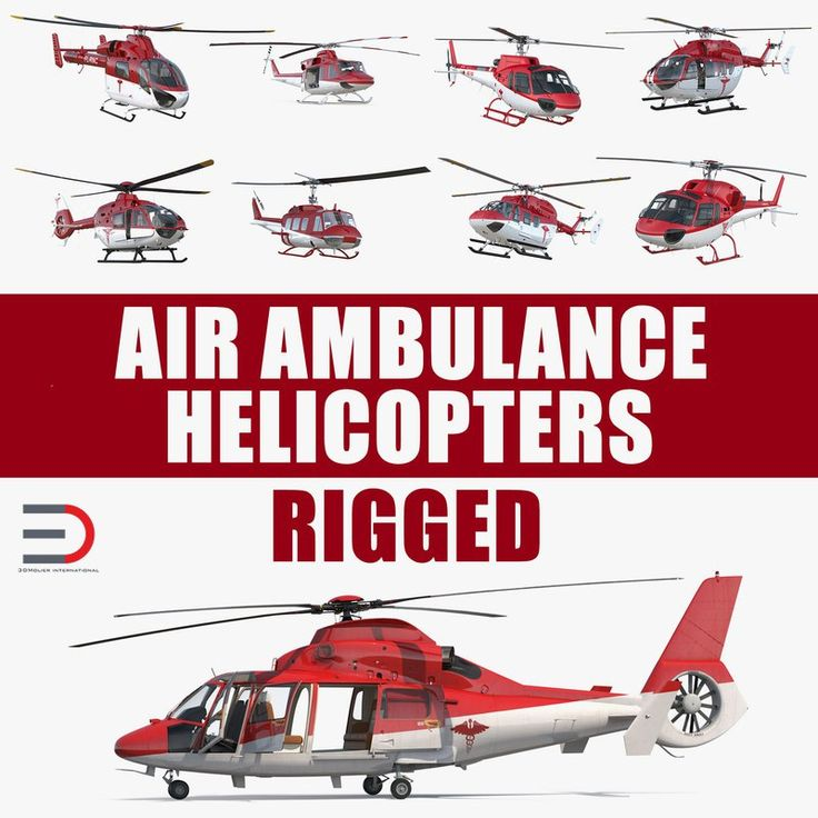 Rigged Air Ambulance Helicopters Collection 3D