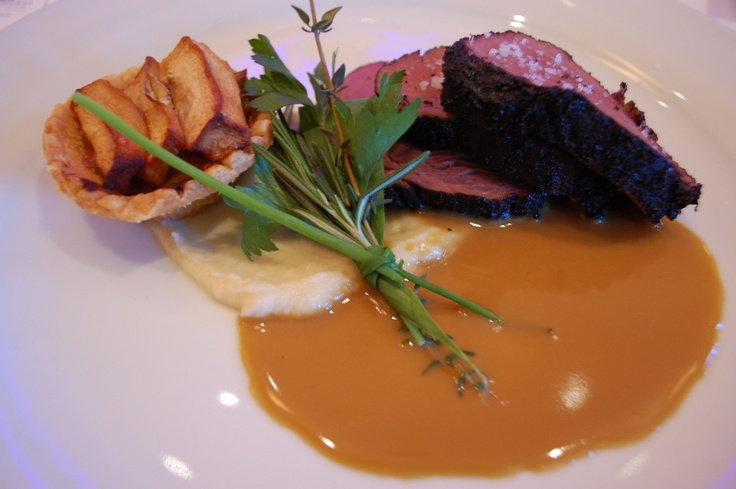 Coffee Marinated Ostrich Fois Gras Reduction, Apple Rhubarb Tart Puree Celery Root