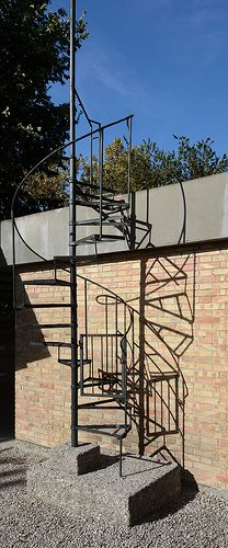 camping fusina, landscape planning and service buildings, mestre, venice 1957-1959. stairs to roof. architect: carlo scarpa