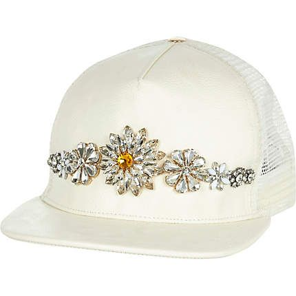 White embellished trucker hat £35.00