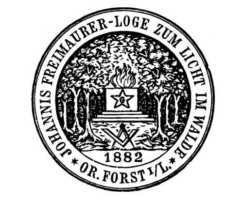 """Forst (Lausitz) - Siegel der Forster Freimaurerloge """"Loge zum Licht im Walde"""" 1882"""