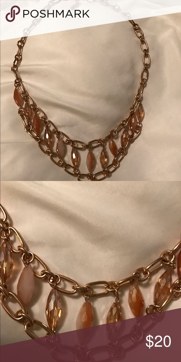 Gold necklace Macy's necklace, thick gold chain with gold and orange toned beading Macy's Jewelry Necklaces