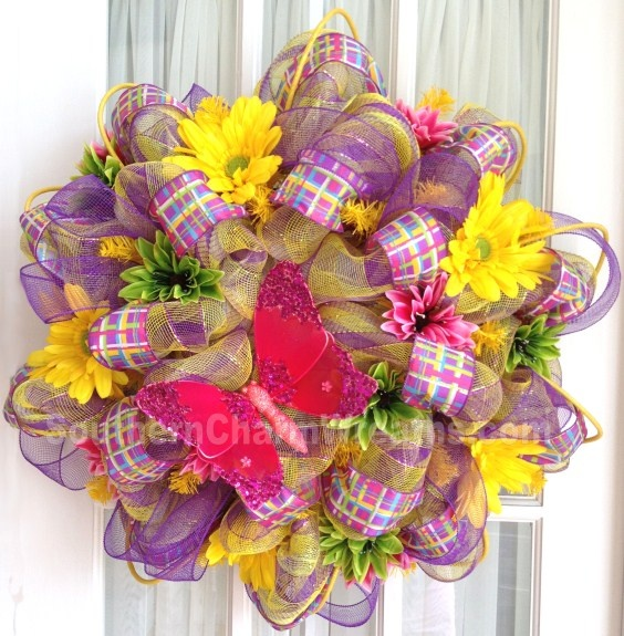 Brilliant Deco Mesh Wreath Purple Lime Yellow Stripe by SouthernCharmWreaths.com #decomesh