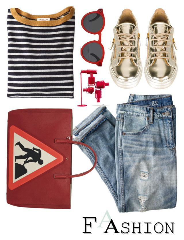"""""""Man at work"""" by lidia-solymosi ❤ liked on Polyvore featuring Demylee, J.Crew, Giuseppe Zanotti and Illesteva"""