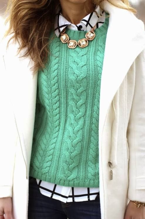 Winter Fashion ~ Cable knit sweater, white jacket, plaid blouse, and a little bling!