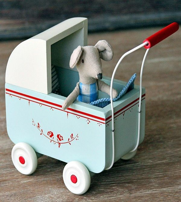 Little painted wooden toy pram, perfect for Maileg Bunnies & Mice