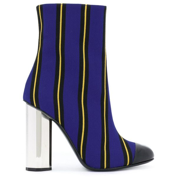 Marco De Vincenzo striped ankle boots (11.850 ARS) ❤ liked on Polyvore featuring shoes, boots, ankle booties, blue, leather ankle boots, leather ankle bootie, genuine leather boots, blue ankle boots and leather bootie