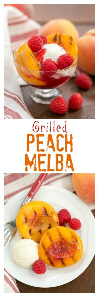 Grilled Peach Melba | A grilled version of this classic dessert with peaches, raspberry sauce and ice cream @lizzydo