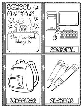school objects colouring mini book 19 pages