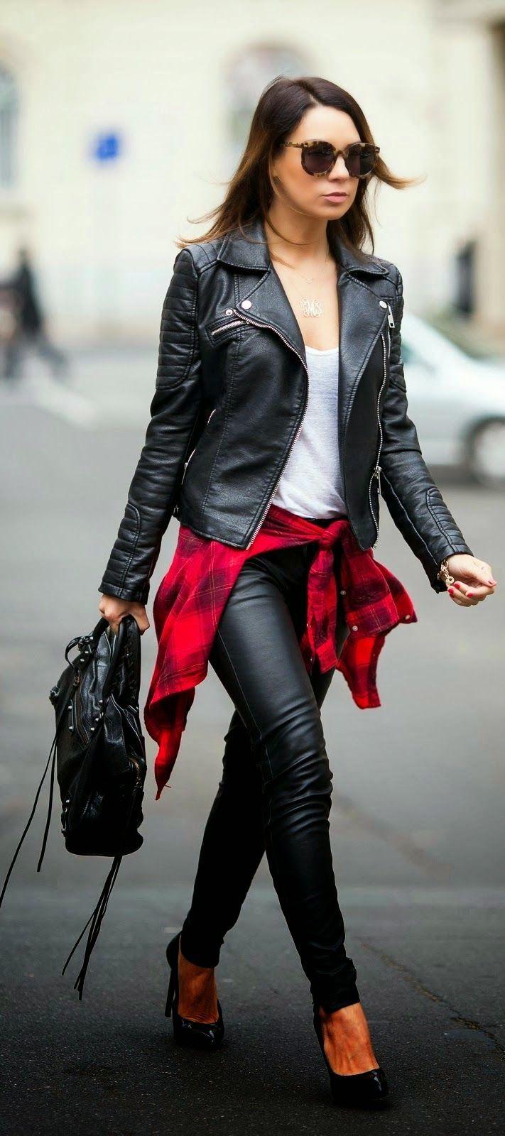 jaqueta de couro com calça de couro, moda inverno, roupas da moda