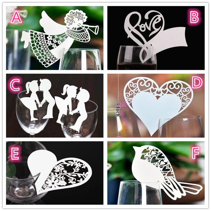 50 Pcs Bird Angle Heart Shape Wine Glass Card Laser Cut Escort Cup Name Place Birthday Party Wedding Decorations For Home
