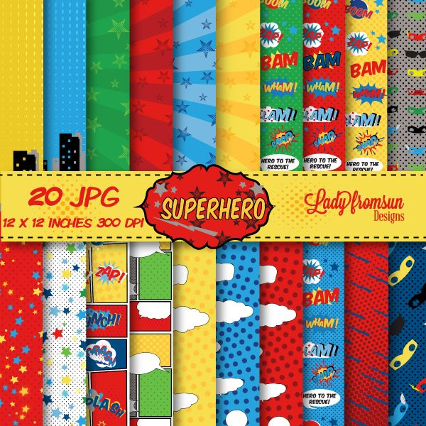Unleash the superhero within you with this heroic pop style digital papers. They can be used for creating printable party decorations such as cupcake toppers and party banners! They're also great for creating invitations, birth announcements, photo cards, digital scrapbook layouts and so much more!