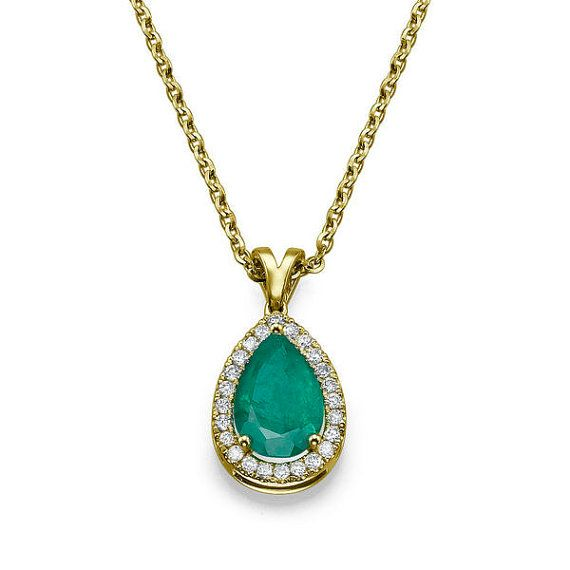 halo p necklace with diamond cut emerald square pendant double
