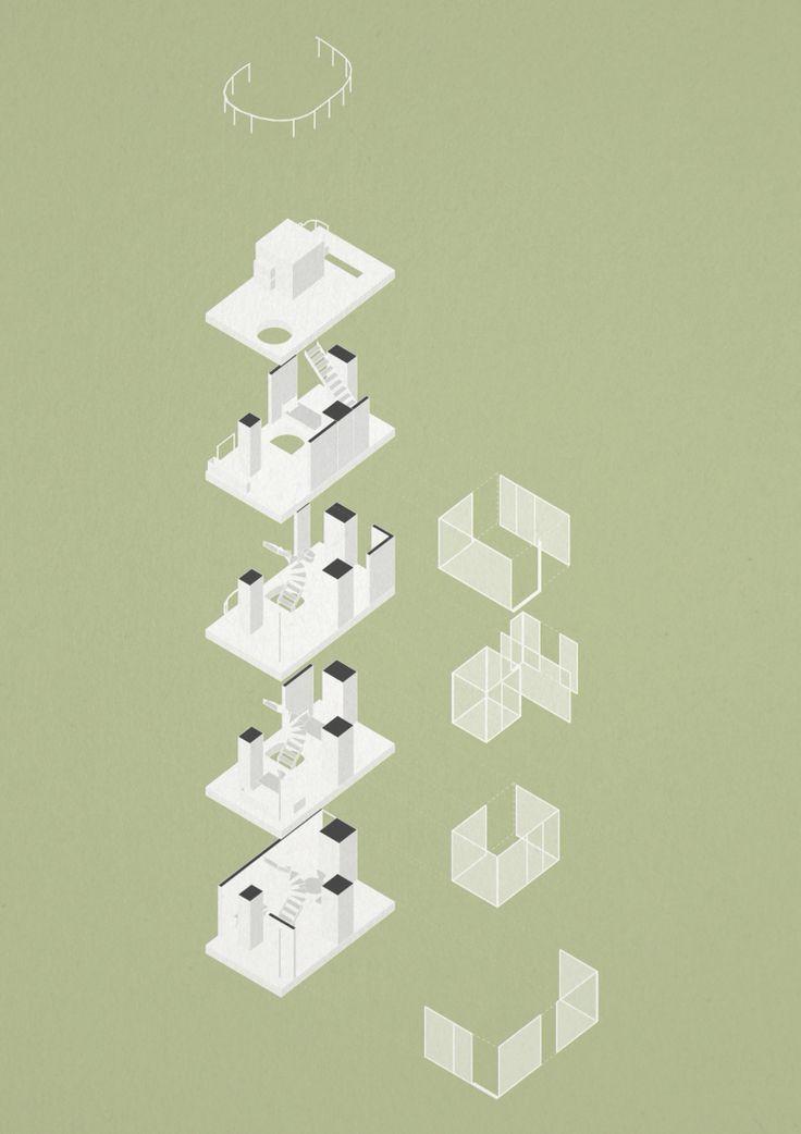 Ryue Nishizawa Garden House isometric spatial study diagram
