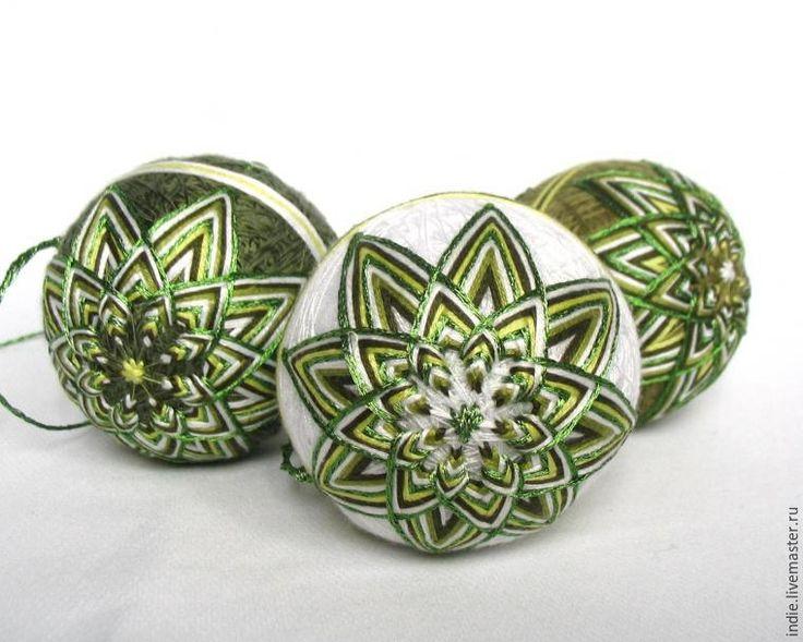 Необычное украшение на новогоднюю ёлку — темари - Ярмарка Мастеров - ручная работа, handmade
