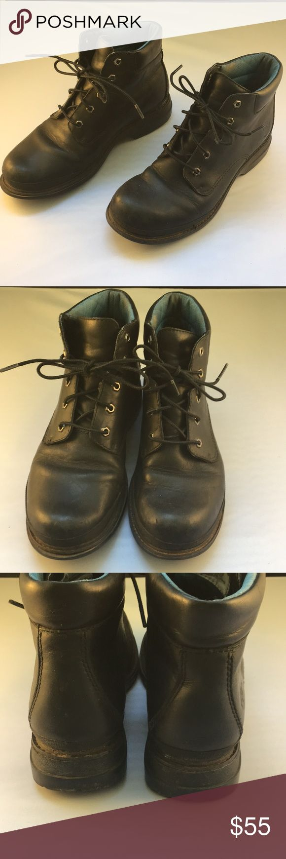 Timberland black leather sturdy boots. Sz 7 Black leather Timberland boots with  Blue fabric band around heel.  Gently used   Size 7 Timberland Shoes Ankle Boots & Booties