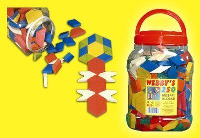 250 Stukjes Mozaiek speelgoed in Ton - Webby's