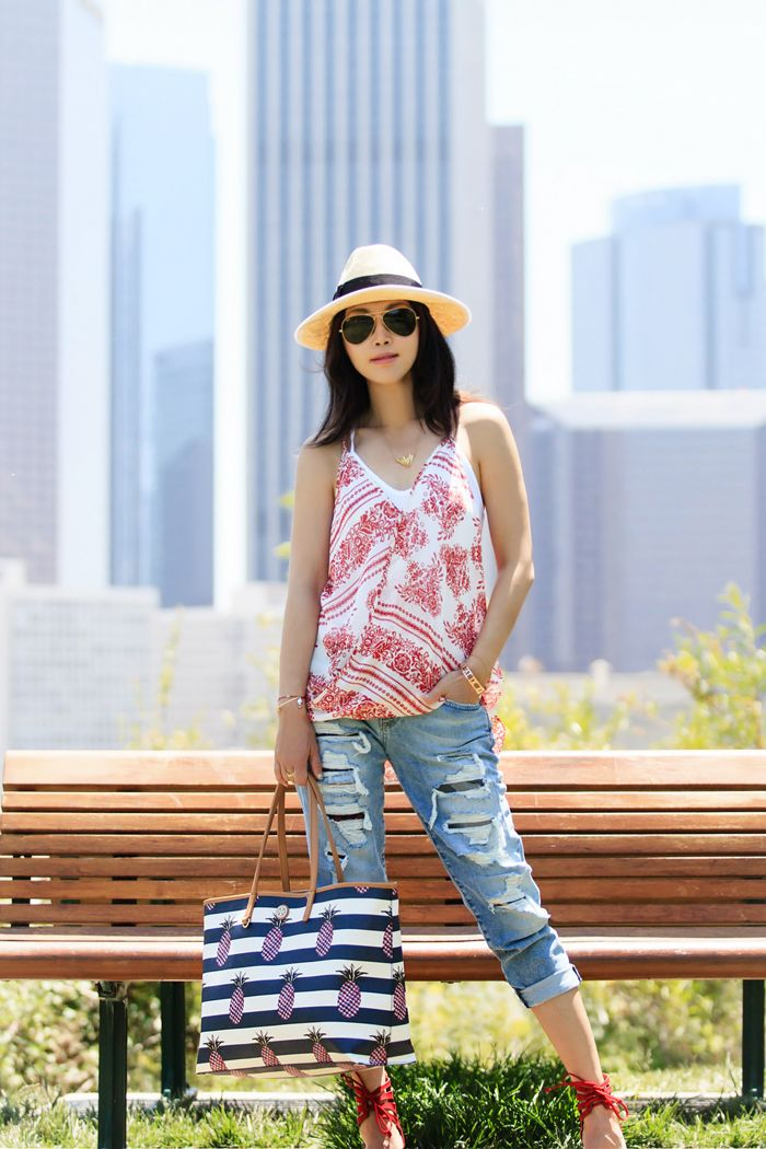 fitfabfunmom: Summer Bench - Printed Racerback Tank, Boyfriend Jeans, Red Lace Up Shoes, Aviators, Tory Burch 'Kerrington Square' Tote