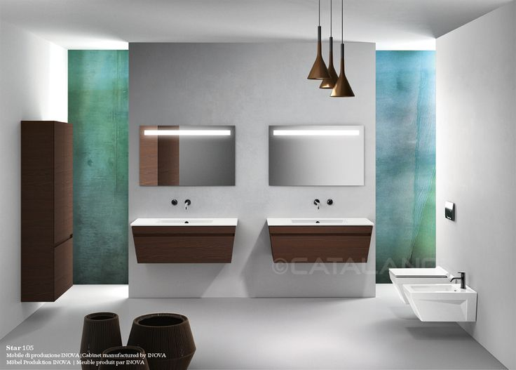 Star 105_Washbasin prearranged to install the taps in 3 different positions. It can be installed wall-hung, semi inset. Cabinet manufactured by INOVA