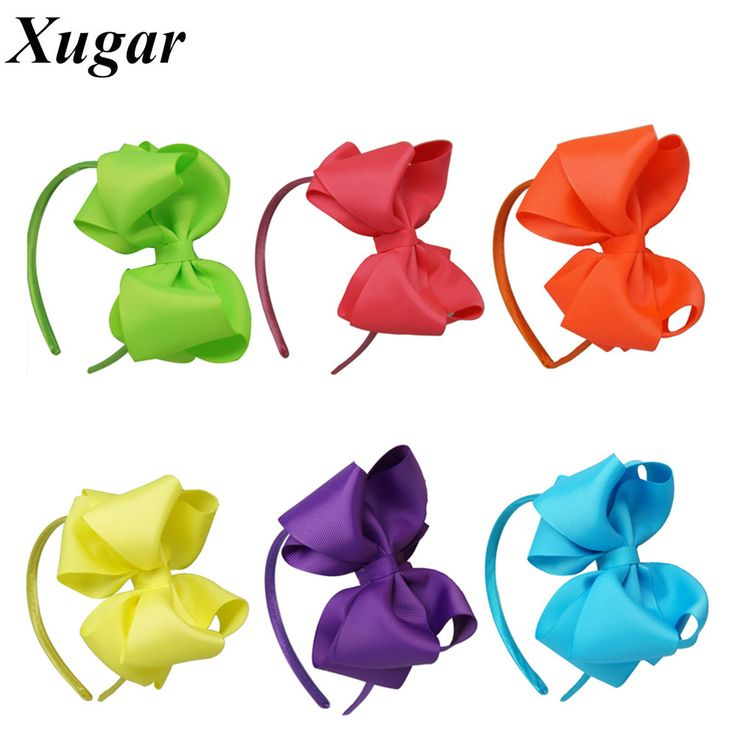 High Quality Handmade Solid Ribbon Neon Color Bow Hairband For Baby Girls Toddler Boutique Layers Hard Headband Hair Accessories