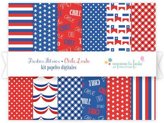 Kit Papeles Digitales ::Fiestas Patrias Chile Lindo::   Usa estos papeles digitales para hacer tarjetas, bricolage, para hacer decoupage en