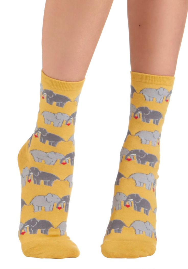 I Link I Love You Socks. If youve never experienced that magic that comes over you when you instantly adore an article of clothing, let this romantic pair of ankle socks be your first! #yellow #modcloth