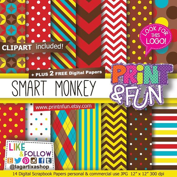 Monkey Party, Patterns, Digital Paper, clip art, brown, teal, blue, yellow, red, chevron polka dots stripes banana party printables invites