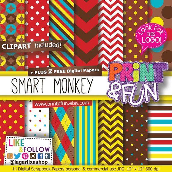 Carta Digitale Sfondi Scimmia inviti festa chevron teal rosso giallo marrone polka dots clipart