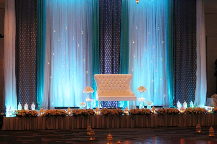Stage Amp Backdrop Design With Hanging Candles Blue