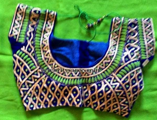 Saree Blouse Patterns: Zigzag Work Customized Blouse