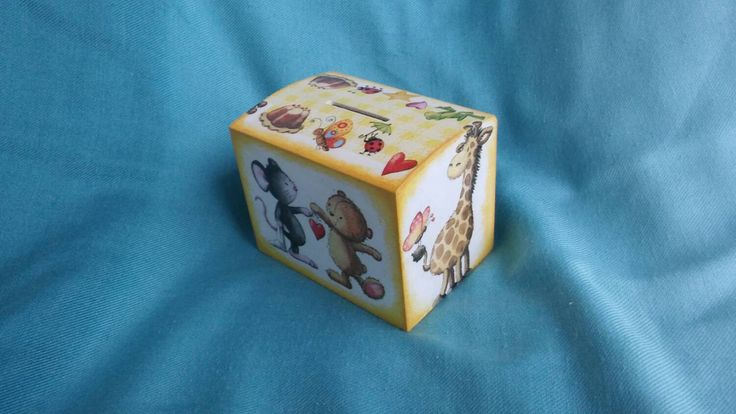 Wooden money box for kids, money bank, mouse bear and girafe box, yellow children box, gift for kids, handmade home decor, coin bank by KristanArt on Etsy