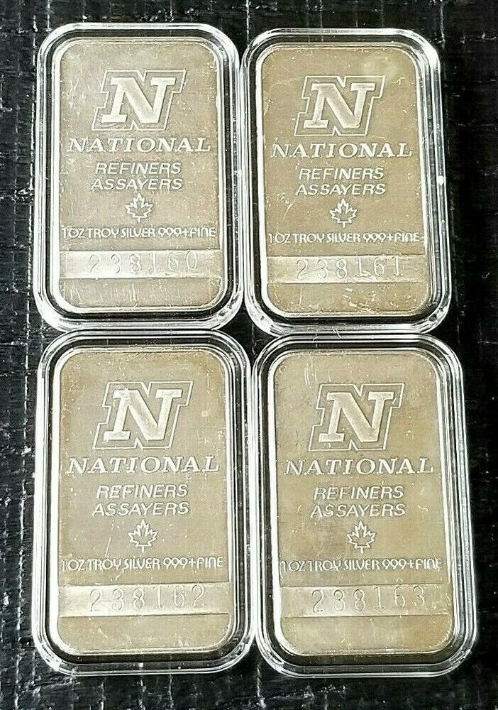 4 National Refiners Assayers Silver 1 Oz Bar 999 Bars Consecutive Serial S Branded Mints Silver Bars Silver Bullion Coins