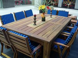 10 seater Rhodesian Teak outdoor table 2.4 m by 1.2, with the chairs excluding cushions ,weather resistant R13999.00 PLEASE CALL 0788385826