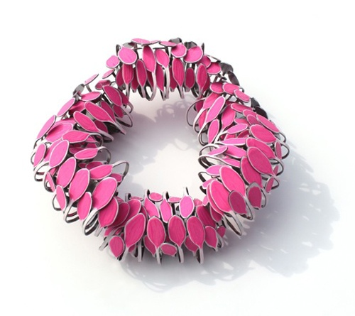 Mirjam Hiller  Brooch: Venturium Pink 2012  Stainless steel, powdercoating